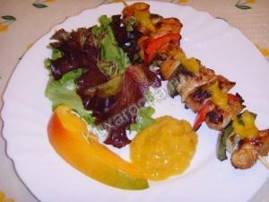 куриные шашлычки с соусом из манго