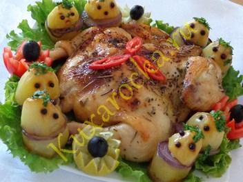 курица с картошкой в духовке хороший рецепт